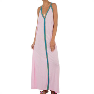 Pitusa Pale Pink With Blue Braid Pima Sundress - O/S - Pink/Blue