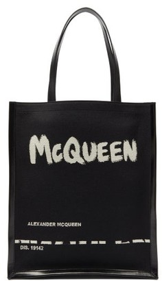 Alexander McQueen Logo-print Canvas And Leather Tote Bag - Black
