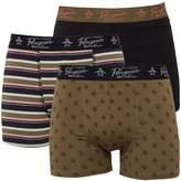 Original Penguin Mens Three Pack Boxers Military Olive/Jet Black/Spiced Coral