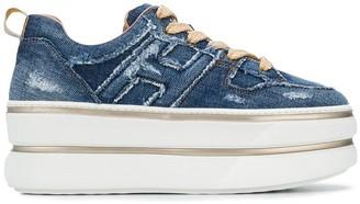 Hogan Denim Platform Sneakers