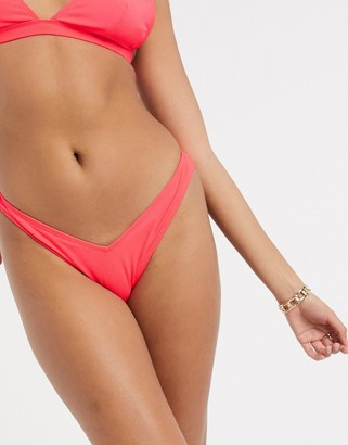 ASOS DESIGN mix and match rib v front high leg hipster bikini bottom in red