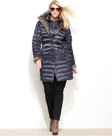 Shelli Segal Laundry by Plus Size Coat, Faux-Fur-Lined Hooded Puffer