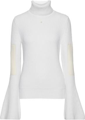 Lanvin Appliqued Ribbed Wool Turtleneck Sweater