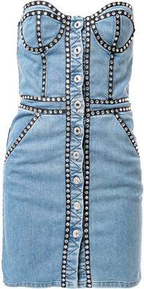 Moschino Crystal-Embellished Denim Dress