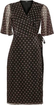 Wallis PETITE Black Gold Spot Tie Front Midi Dress