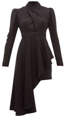 Racil Tina Polka Dot-jacquard Waterfall-hem Dress - Womens - Black