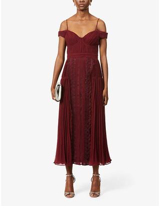 Self-Portrait Lace-embroidered crepe midi dress