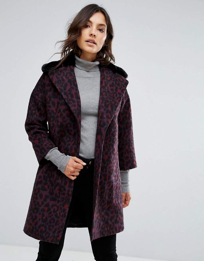 Helene Berman Wool Blend Revere Teddy Fur Collar Coat