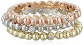 Jardin Mini Boules Cubic Zirconia Set of Three Stackable Ring, Size 7, 1 CTTW