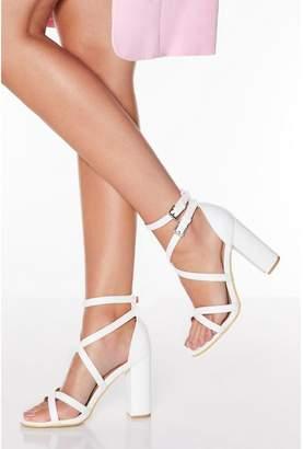 Quiz White Cross Strap Block Heeled Sandals