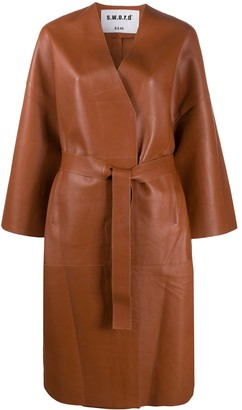 S.W.O.R.D 6.6.44 Belted Leather Coat