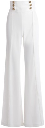 Elisabetta Franchi High-waisted Palazzo Trousers Made Of Ivory-colored Fabric
