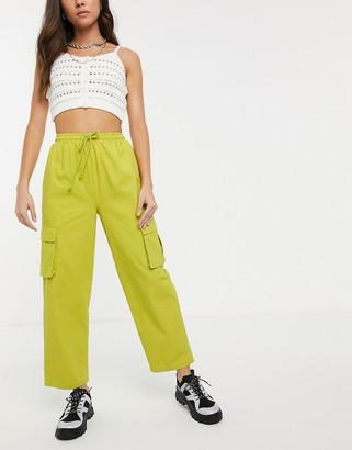 Asos Design DESIGN pull on utility combat pants-Yellow