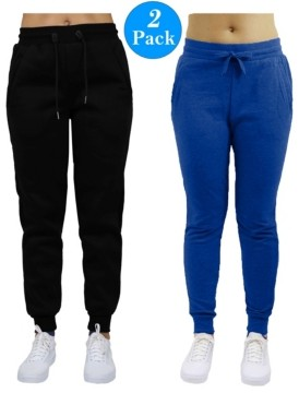 Galaxy By Harvic Women's Slim Fit Heavy Weight Fleece Lined Joggers - 2 Pack