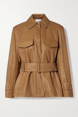 Vince Belted Leather Jacket - Camel