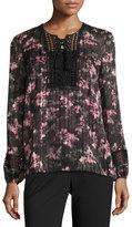 T Tahari Linda Floral Lace-Trim Blouse, Black