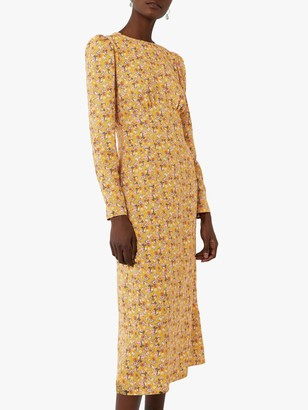 Warehouse Ditsy Floral Midi Dress, Yellow