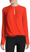 Rag & Bone Max Long-Sleeve Silk Blouse, Fiery Red