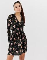 Asos Design DESIGN mini plisse wrap dress with lace trim in floral print