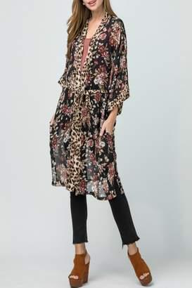 Entro Floral-Leopard Print Kimono