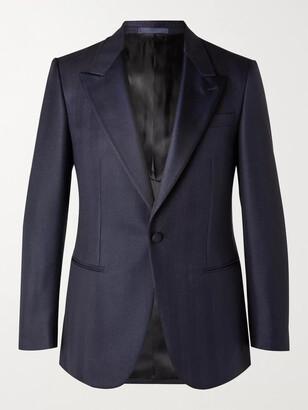 Kingsman Arthur Harrison Slim-Fit Silk Faille-Trimmed Wool And Mohair-Blend Herringbone Tuxedo Jacket