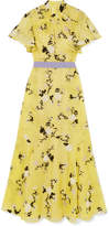 Erdem Celestina Ruffled Embroidered Silk-organza Gown - Yellow