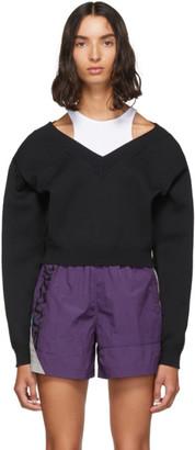 Alexander Wang Black Cropped Bi-Layer V-Neck Sweater