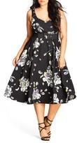 City Chic Plus Size Women's Floral Sketch Fit & Flare Dress