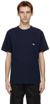 MAISON KITSUNÉ Navy Tricolor Fox Patch Pocket T-Shirt