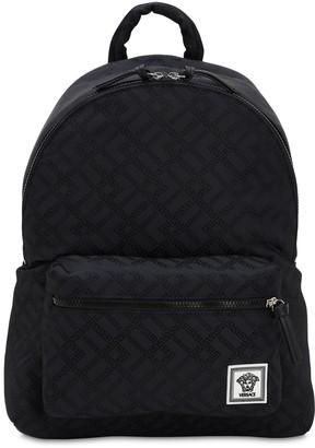 Versace Greca Printed Nylon Backpack