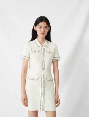 Maje Knit dress with contrasting topstitching