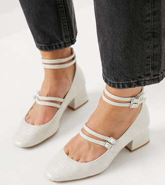 ASOS DESIGN Wide Fit Wilma Mary Jane mid heels in off white