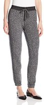 C&C California Women's Terry Pant with Faux Leather Detail