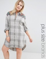 Alice & You Long Oversized Check Shirt With Embroidery
