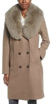 Elie Tahari Women's Trystan Wool Blend Coat With Genuine Fox Fur Trim