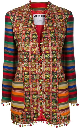 Moschino Pre-Owned Patchwork Striped Jacket