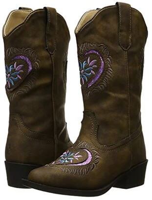 Roper Daisy Heart (Toddler/Little Kid) (Brown Faux Leather Vamp) Cowboy Boots