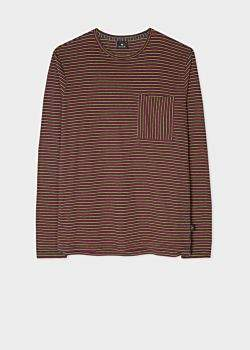 Men's Navy, Red And Yellow Stripe Organic-Cotton Long-Sleeve T-Shirt