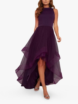 Chi Chi London Thais Tulle Dip Hem Dress, Berry