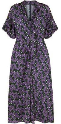 Lela Rose Pussy-bow Printed Crepe De Chine Midi Dress