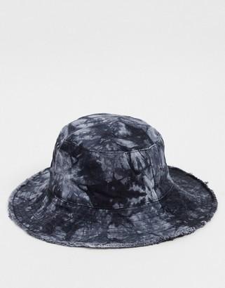 Topshop tie dye denim bucket hat in black