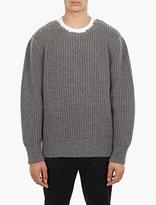 Lanvin Grey Raw-hem Wool Sweater