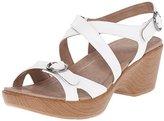 Dansko Women's Julie White Leather Wedge Sandal