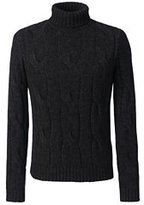 Classic Men's Wool Alpaca Textured Turtleneck-Charcoal Gray