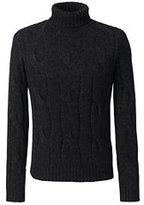 Lands' End Men's Classic Wool Alpaca Textured Turtleneck-Classic Navy Plaid
