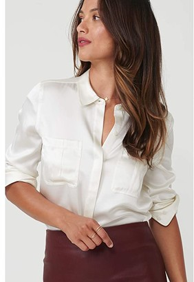 UNTUCKit Carlina Eco Friendly Stretch Silk Button-Up Blouse (Light Blue) Women's Clothing