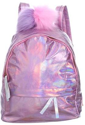Ella & Elly Women's Backpacks Pink - Pink Holographic Pom-Pom Backpack