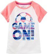 "Osh Kosh Girls 4-12 Game On"" Soccer Raglan Tee"