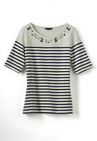 Classic Women's Petite Elbow Sleeve Midweight Jersey Embellished Balletneck Top-White