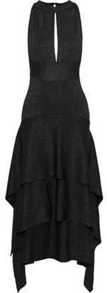 Proenza Schouler Tiered Cutout Metallic Stretch-knit Midi Dress